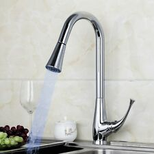 New LED Kitchen Basin vessel Sink Spray Pull Out Mixer Tap Chrome Faucet A-028