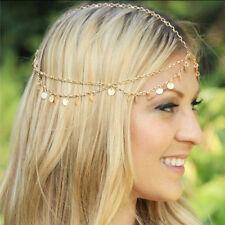 Bohemian Gold Circles Hair Head Chain Boho Headpiece Headband Hippie Festival