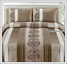 Latte White Ruched / Embroidered * 3pc QUEEN QUILT DOONA COVER SET * 280TC Brand