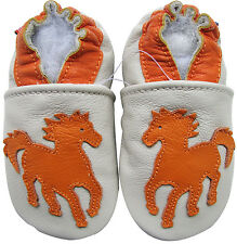 carozoo horse cream 3-4y soft sole leather baby shoes