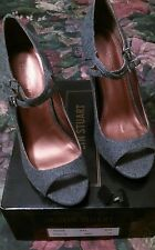 COLIN STUART GREY FLANNEL STRAPPY PEEP TOE MARY JANE HIGH HEEL PUMP  SIZE 10