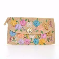VINTAGE 50's 60's Woven Raffia Floral Clutch Bag Shell Buckle Straw Fifties