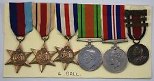Six WW2 Medals 1939-45, Africa, France & Germany Stars, War, Defence Medals Etc