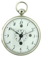 Spindel Taschenuhr mit Wecker auf Glocke um 1810 in Silbergehäuse, 56mm, 132g