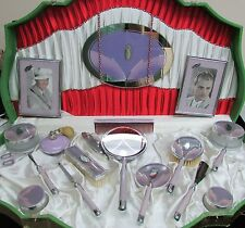"CIRCA MIDDLE 20th CENTURY ""MAE WEST"" DECO VANITY 18 PIECE SET IN CASE"