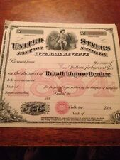 1885 US Internal Revenue Stamp for Special Tax Retail Liquor Dealers 7 1/4 x 8