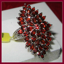 Huge Genuine Mozambique Garnet Diamond Cluster 10.75ct Ring S Silver 925 sz 6