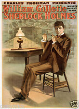"Sherlock HOLMES Charles frohman William GILLETTE TEATRO 12x8 ""Poster ristampa"