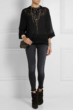 """NWOT ISABEL MARANT """"Ethan"""" Cutout Embroidered Blouse $455 SZ 38 Georgette Top"""
