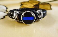 THIN BLUE LINE POLICE SNAP BUTTON ON BLACK leather bracelet gift bracelet
