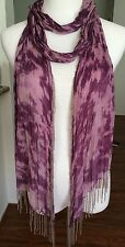 New AUTH Chan Luu Beaded Fringe Tie Dye Scarf Color: Potent Purple Combo