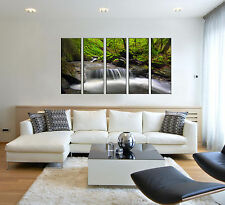 Waterfall print on canvas, forest stream lake print on canvas 5 panel print wall