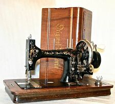 RARE 1874 VICTORIA MUNDLOS WORKING ANTIQUE HAND CRANK SEWING MACHINE WOOD INLAY