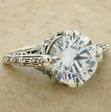 WEDDING ENGAGEMENT 925 STERLING SILVER ANTIQUE STYLE CZ RING SIZE 6.75,     #123