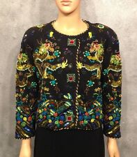 Michael Simon Embellished Sequin Dragon Vintage Sweater Size 2 Chinese New Year