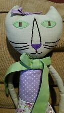 Primitive Folk Art stuffed cat w/fish green/lilac girl room decor collection EUC