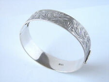 Vintage Sterling Silver Fully Hallmarked Decorative Cuff Bangle
