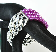 ELEGANT SILVER PURPLE BALL MULTI LAYER CHUNKY BRACELET UNIQUE (ST37)