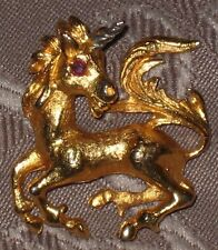 1981 CCS Inc In Search Of The Littlest Unicorn 24k Gold Vermeil Ruby Eye Pendant