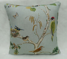 Sanderson Fabric Cushion Cover 'Woodland Chorus' Sky Blue/Multi Linen Blend