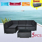 Wicker Rattan Garden Set Indoor Outdoor Sofa Lounge couch Setting Furniture 5Pcs