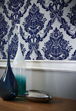 Sophie Conran Palais Spot Damask Flock Wallpaper Navy