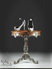 HTF SilverPl BJD Ball Jointed Doll Shoes Resin Porcelain Enchanted Style 50X20mm
