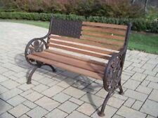 Oakland Living Proud American Cast Iron and Wood Bench in Antique Bronze Finish