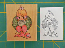 Precious Moments UV007 Christmas Wreath Rubber Stamp Surrounded by Joy 1995