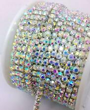 10 Yards ss10 3mm AB Close Cup Chain Grade A+ Crystal Rhinestones Silver Chain