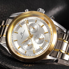 KS Men's 6 Hands Date Automatic Mechanical Stainless Steel Wrist Watch +Bookmark