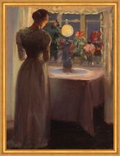 Young girl in front of a lighted lamp Anna Ancher Licht Silhouette B A2 00519