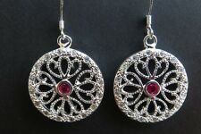 ORECCHINI ARGENTATI STRASS BIANCHI/ROSSO   - EARRINGS SILVER RED STRASS