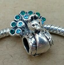 Peacock Blue Green CZ Crystal Rhinestone Tail European Bead fit Charm Bracelet