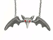"5"" Silver Lily Munster Bat Wings Necklace Gothic Punk Grunge Halloween Pendant"