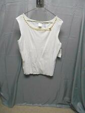 NWT Emma James cream faux pearl neckline sleeveless top women's size large
