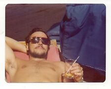 Vintage Photo Sexy Young Man Shirtless Sunglasses Drink In Hand Gay Int. 1970's