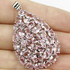 Long Big Pink Kunzite, White CZ SheCrown Woman's Wedding Silver Pendant Gift