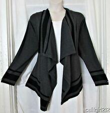 Pina Rossi Elegant Charcoal Gray & Black Waterfall Front Soft Cardigan 3X NWT