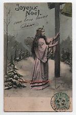 Carte postale ancienne | Ange sonnant la cloche | Joyeux Noël | Neige| 1905
