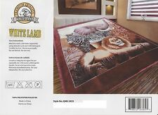 "77""x90""Elephant Zebra Lion Peacock Soft Plush Faux Mink Full/Queen 2 Ply Blanket"