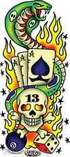 Cobra Aces Flaming Skull Sticker Decal Vince Ray VR53