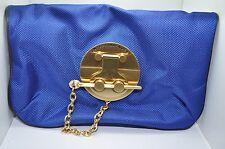 ANTEPRIMA NUEVE Royal Blue Nylon Folded Clutch Purse Evening Wristlet NEW