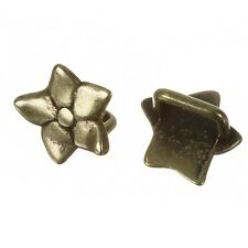 Antique Brass Slider Ring Flower Beads Fit Regaliz Cord 16mm - Pack of 2 (F24/8)