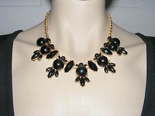 $24 Nordstrom Faceted Black Rhinestone Cabochon Statement Necklace Goldtone 19""