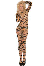 Brown Zebra Print  Body Stocking Party Dancer Stripper Lingerie Size UK 10-12