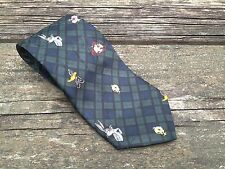 Men's Necktie Tie Looney Tunes Mania Cartoon Characters Navy Green Plaid Stripe
