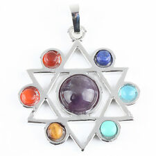7 Mix Chakra Stone Dowsing Reiki Gemstone Pentacle Star Charms Pendant Jewelry
