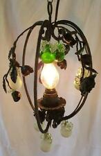 Vintage Black Wrought Iron Rose Gothic Chandelier Green & White Pear Crystals