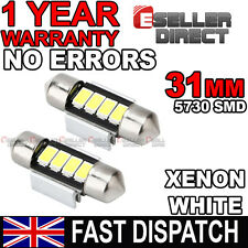 2 X 31mm Xenon Blanco 2 SMD Led Bombilla Guantera Interior VW Golf Mk4 4 IV